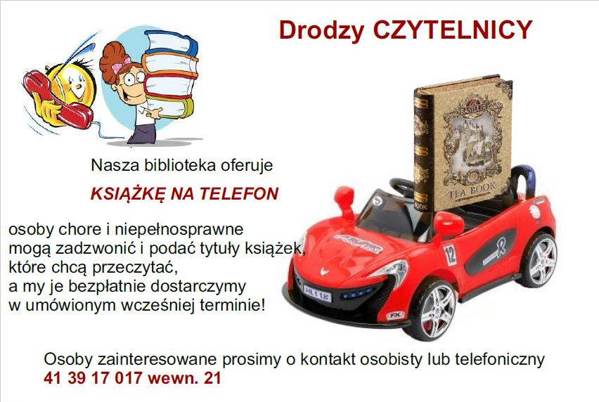 """Plakat dla nowej oferty dla osób chorych i niepełnosprawnych """"Książka na telefon"""""""