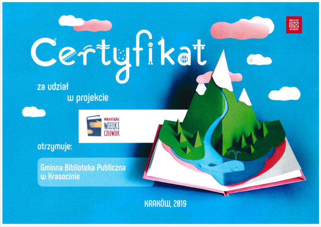 Certyfikat projektu Mała Książka Wielki Człowiek