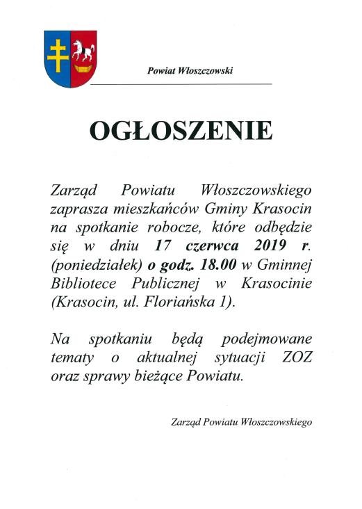 Ogłoszenie Zarząd Powiatu