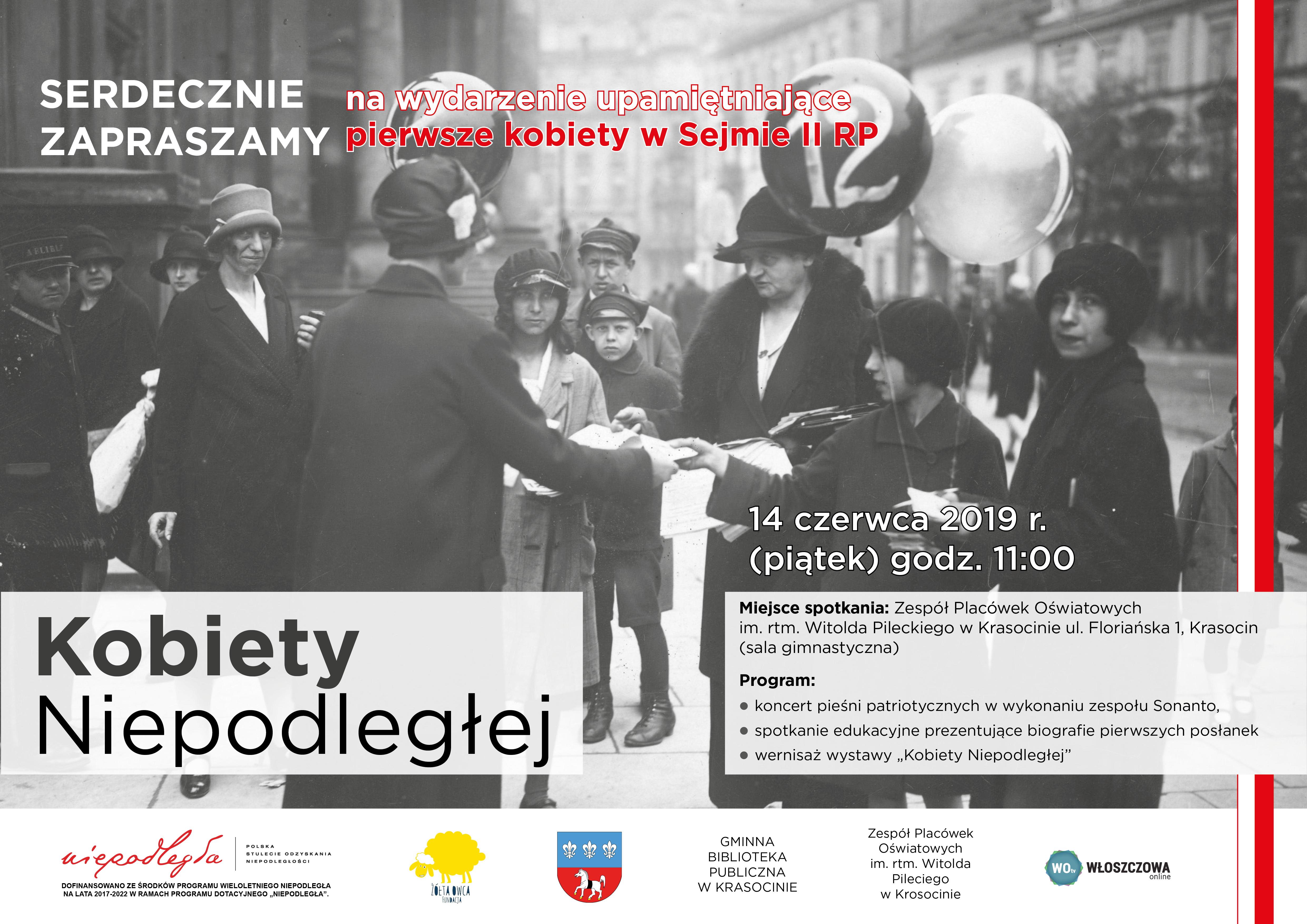plakat_Kobiety_Niepodległej - koncert i wystawa- spotkanie edukacyjne, 14 czerwca godz. 11:00