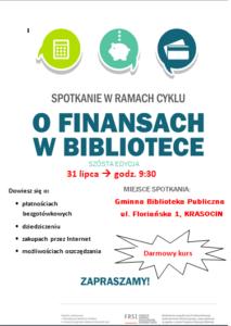 darmowy kurs O Finansach w bibliotece 31 lipiec