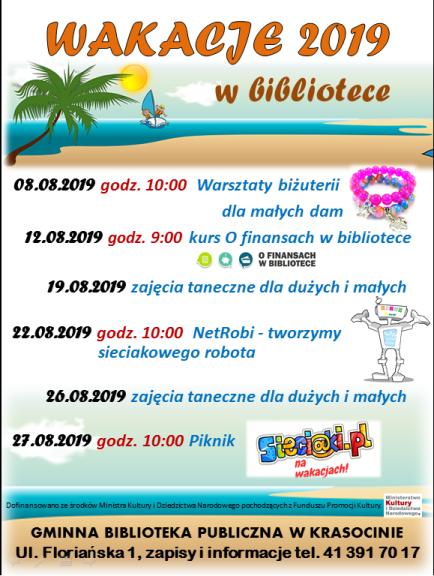 Oferta zajęć wakacyjnych sierpień 2019