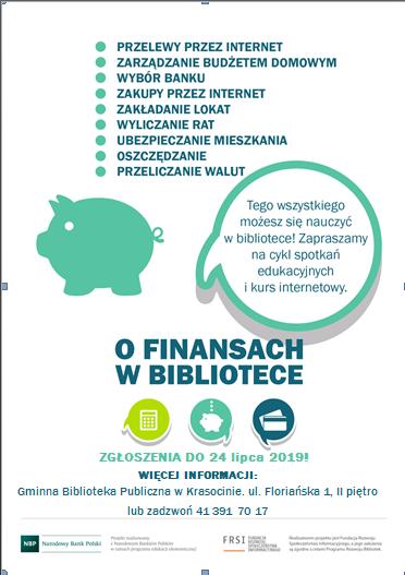 plakat O finansach w bibliotece 6 kurs