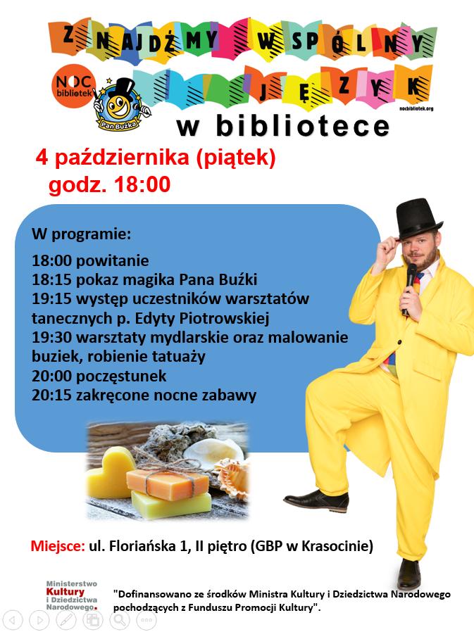 zaproszenie Noc Bibliotek 4 październik